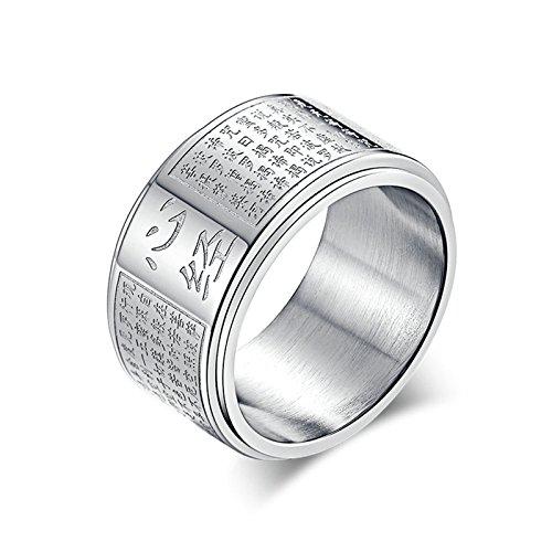 DOLOVE Verlobung Ringe Edelstahl Ring Für Herren Silber Gothic Buddha Buddhismus Religiös Partnerring Freundschaftsring Ring Ringe Groß 65 (20.7)