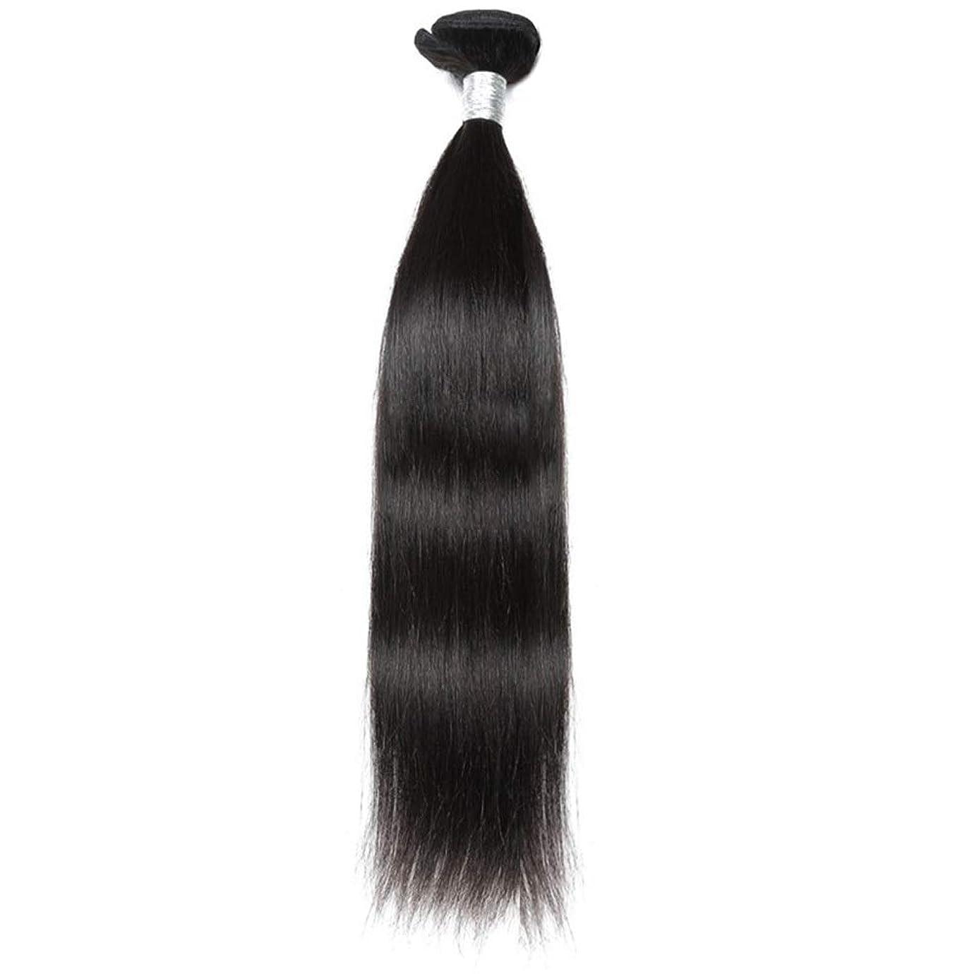 豚件名リラックスHOHYLLYA ブラジルのバージンヘア9Aグレード絹のようなストレート人間の髪の毛の織り方1バンドルナチュラルカラーヘアエクステンション(10インチ-26インチ)合成髪レースかつらロールプレイングウィッグストレートシリンダーショートスタイル女性自然 (色 : 黒, サイズ : 26 inch)