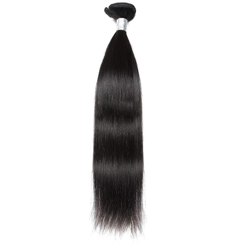 HOHYLLYA ブラジルのバージンヘア9Aグレード絹のようなストレート人間の髪の毛の織り方1バンドルナチュラルカラーヘアエクステンション(10インチ-26インチ)合成髪レースかつらロールプレイングウィッグストレートシリンダーショートスタイル女性自然 (色 : 黒, サイズ : 26 inch)