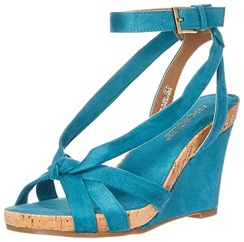 Aerosoles Fashion Plush Wedge Sandal, Teal Fabric, 5.5 M US