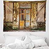 ABAKUHAUS Rústico Tapiz de Pared y Cubrecama Suave, Puerta Vieja De Grunge, Objeto Decorativo Lavable, 150 x 110 cm, Multicolor