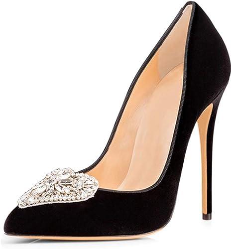 NIUYUAN Femme Eté Sandales Sexy Talons Stilettos Fête Soirée Chaussures Taille 34-46,noir,38