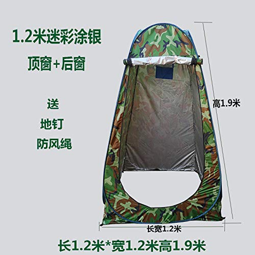 Camping Beach Tent,Automatic pop-up tent Outdoor bathing tent Household bath tent thickening and warmth Changing room cover Portable mobile toilet Beach changing sunscreen tent-1.2m camouflage silve