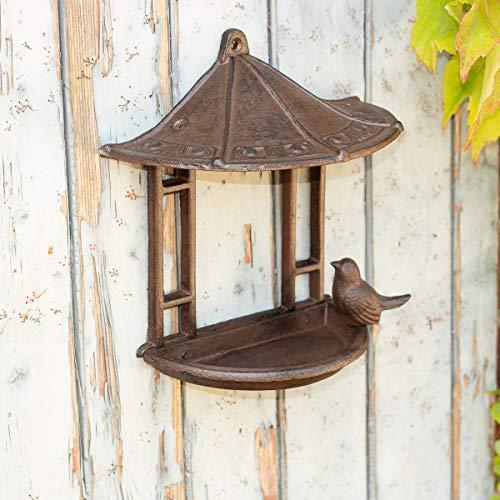 Antikas - Futterstation für Vögel, Vogeltränke, Futterpavillon für Wand, Wanddeko