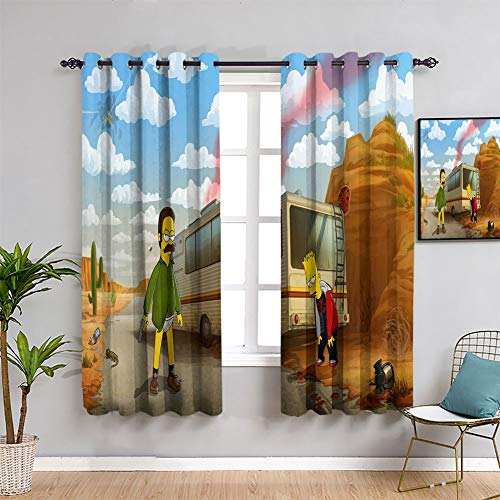 Elliot Dorothy Bart and Heisenberg Simpson Backout Curtain Set Window Curtain Drape for Boy Living Room W55 x L63Inch Machine Washable