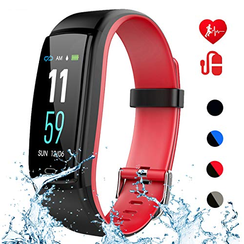 Mgaolo Fitness Tracker with Blood Pressure Heart Rate Sleep Monitor,IP68 Waterproof Activity Tracker Smart Watch with Pedometer Calorie Step Counter Compatible with iPhone and Android Phones (Red)