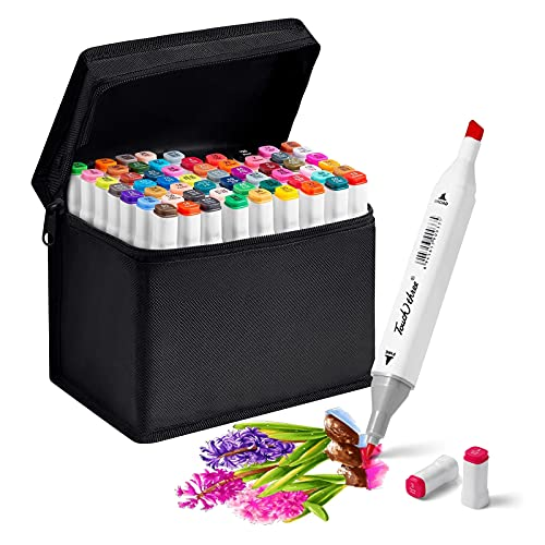 MYRCLMY 60 Colors Dual Tip Art Markers Permanent Alcohol Based Markers Colored Artist Drawing Marker Pens Highlighters with Case for Coloring Animation Illustration