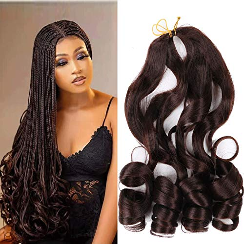 22 inch Loose Wavy Braiding Hair 6 Pack French Curles Crochet braid hair 75g/pack Synthetic Hair Extensions Pre Stretched Bouncy Braiding Hair For Black Women(22Inch (pack of 6), 4)