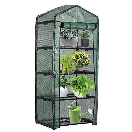 ATopoler Invernadero de Jardín para Balcon Pequeño Portátil 4 Capas de Estantes Se Pueden Enrollar 70 x 50 x 160 cm PVC Material (Sin Incluir Estante de Hierro) (1 Pieza)
