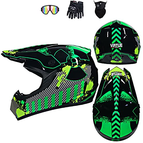 Casco integral para motocicleta de campo traviesa, patrón de radar, para niños, carreras de quad,...