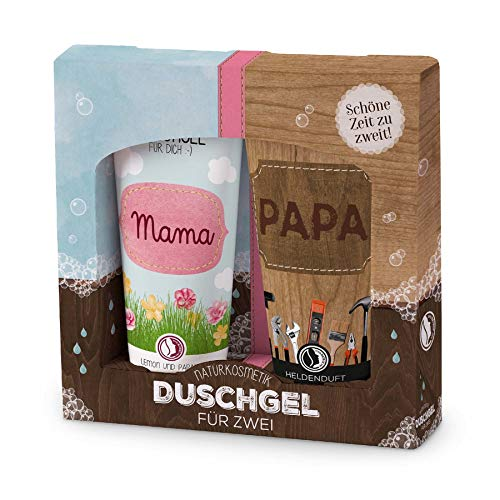 Duschgel für zwei ''Mama, Papa'' | Geschenkidee für Mann & Frau | Wellness Geschenk | Körperpflege | Preis am Stiel®