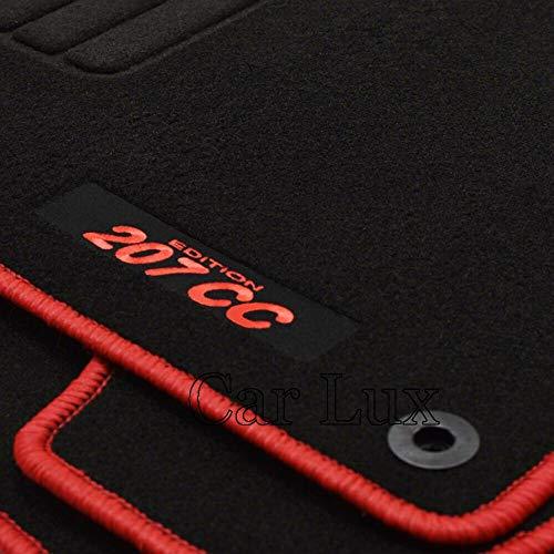 Car Lux AR02819 - Alfombras Alfombrillas Medida Edition Velour Ribete Rojo para el 207cc 207 CC