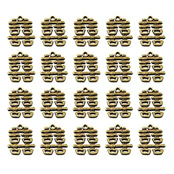 FENICAL Alloy Pendants Charms Decorative Chinese Double Happiness Pendants Charms Jewelry Accessory for DIY Crafts Earrings Necklace 20pcs  Bronze