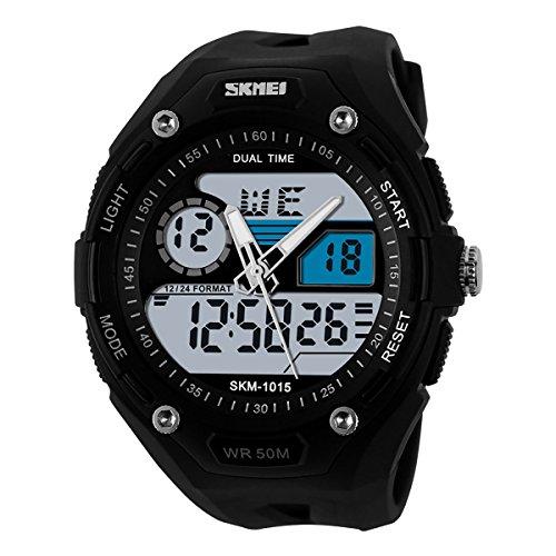 Sportuhr Herren Damen wasserdicht Armbanduhr, LANCARDO LED Outdoor Digitale Fitness Sportuhr mit GMT Duale Zeitzone Nachtleuchtend Uhr Kalender Alarm Chronograph Stoppuhr schwarz