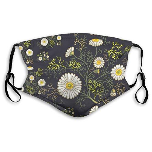 Cubierta facial protectora anti-polvo lavable para la boca,Margaritas florales de verano y follaje flores dibujada,A prueba de viento reutilizable para ciclismo de esquí al aire libre Camping Running