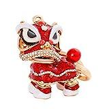 Momangel Schlüsselanhänger, chinesischer Stil, Tanzender Löwe, Strasssteine, Auto-Dekoration, Taschen, Anhänger, Schlüsselanhänger, rot