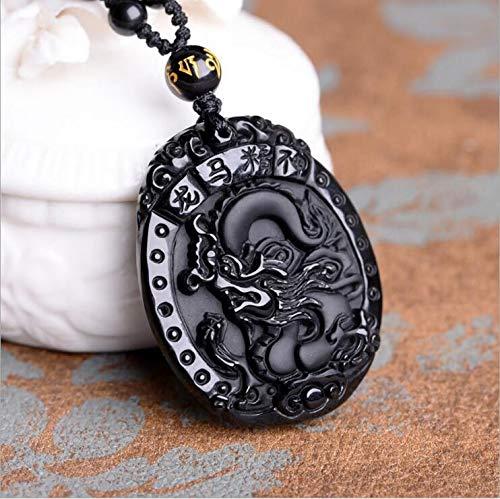 WanTo ping Natural Black Obsidian Anhänger Handgeschnitztes chinesisches Drachenpferd Lucky Obsidian Amulett Pegasus Anhänger Halskette, Schwarz