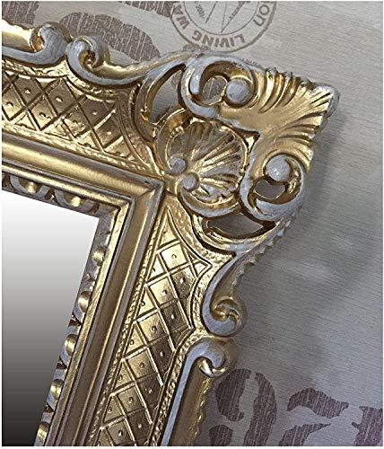 Lnxp WANDSPIEGEL BAROCKSPIEGEL Spiegel IN Gold WEIß DUALCOLOR 90x70 cm ANTIK BAROCK Rokoko Shabby CHIC Renaissance JUGENDSTIL Retro Design MIT ORNAMENTVERZIEHRUNGEN LUXURIÖS PRUNKVOLL