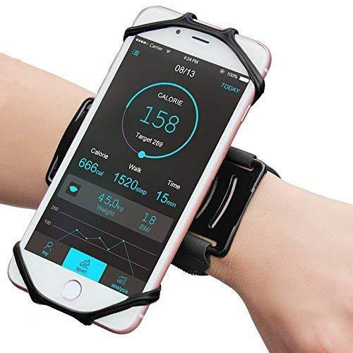 Brassard de sport universel compatible avec tous les smartphones de 4,0 à 5,5 pouces, rotation à 180 °, pour le jogging, la course, le cyclisme, la randonnée - Noir