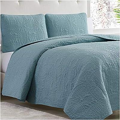 Mellanni Bedspread Coverlet Set Spa-Blue - Comforter Bedding Cover - Oversized 3-Piece Quilt Set (King/Cal King, Spa Blue) by Mellanni