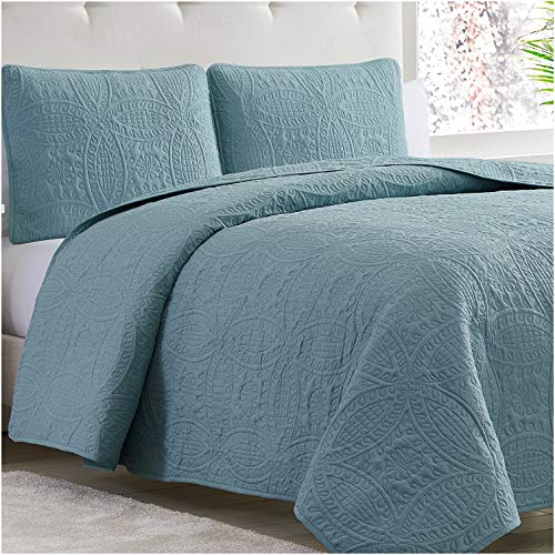 Mellanni Bedspread Coverlet Set Spa-Blue - Comforter Bedding Cover - Oversized 3-Piece Quilt Set (King/Cal King, Spa Blue)