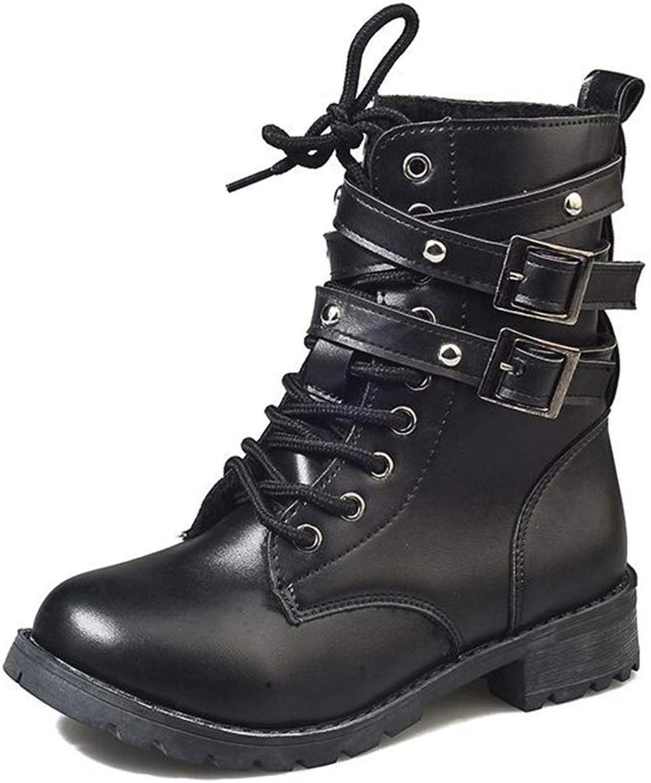 KAOKAOO Round Head Boots Belt Buckle Martin Lace Up Boots