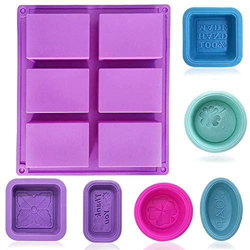 LKMING 7 Stampi Stampi In Silicone per Sapone per Uso Alimentare, per Realizzare Cupcake, Muffin, Sapone, Stampi per Saponette Fai da te,Stampo Silicone Sapone,Stampo per Saponette(purple)