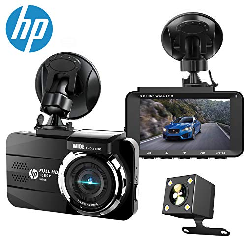 HP Dual Dash Cam Built-in GPS FHD 1080P Front Rear Dashboard Recorder with Sony Sensor, 3'' LCD...