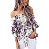 Riou Blusas Camisetas de Polyester Ropa de Mujer Camisas Moda Ajustable Blusa Top Mujeres imprimió...