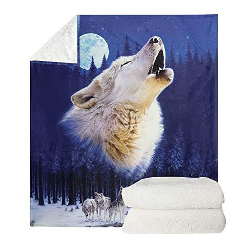 chaqlin Manta de forro polar con diseño de lobo y luna, para viajes, camping, para adolescentes, niños, adultos, 110 x 140 cm