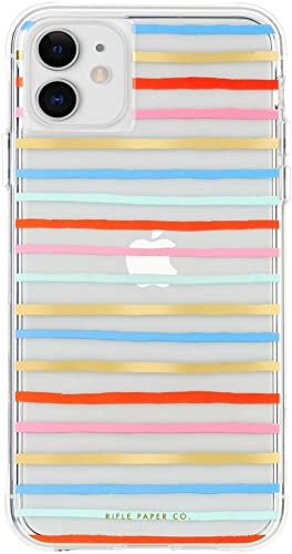 popular Rifle Paper CO. - Case for iPhone 11 - 2021 Gold Foil Accents - discount 6.1 inch - Happy Stripes sale