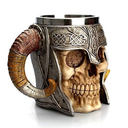 Boenxuan Edelstahl Doppelgriff Horn Totenkopf Bier Tassen,Gehörnten Krieger Schädel Becher Mittelalterliche Schädel Drinkware Becher Zum Kaffee Getränke Saft 500Ml,Gelb