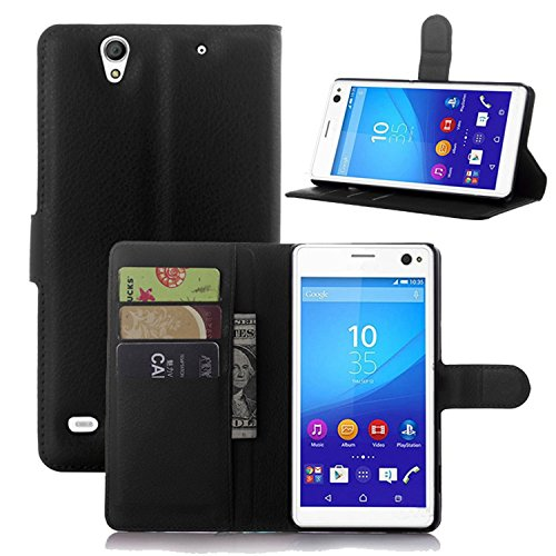 Ycloud Tasche für Sony Xperia C4 Hülle, PU Ledertasche Flip Cover Wallet Hülle Handyhülle mit Stand Function Credit Card Slots Bookstyle Purse Design schwarz