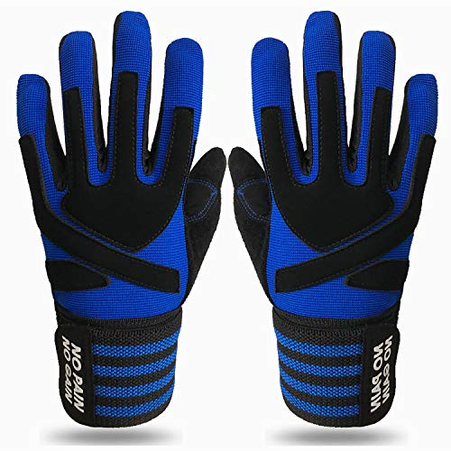 Crossfit Gloves for Men Women Full Finger with Wrist Strap Support, Padded Grip for Weight Lifting Gym Fitness Exercise Training Male Female (Blue, Small)