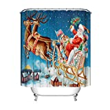 Opfury Weihnachtsmann Duschvorhänge, wasserdichte Bad Vorhänge, Weihnachtsdruckbadezimmer-Vorhang mit Haken 12 PVC