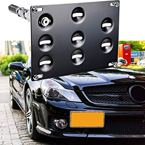 SIZZLEAUTO Tow Hook License Plate Mounting Bracket Holder for Mercedes Benz W204 C-Class W212 W213 E-Class C117 CLA, GLK GLC W166 GLE ML Front Bumper Adapter No-Drill Relocation Kit
