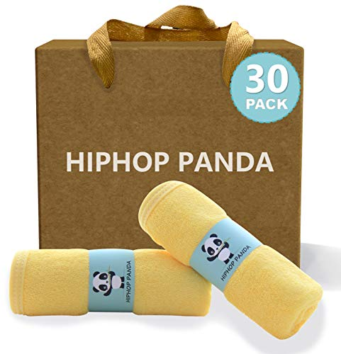 HIPHOP PANDA Bamboo Baby Washcloths,30 Pack (Yellow) - 2 Layer Ultra Soft Absorbent Bamboo Towel - Natural Reusable Baby Wipes for Delicate Skin - Baby Registry as Shower