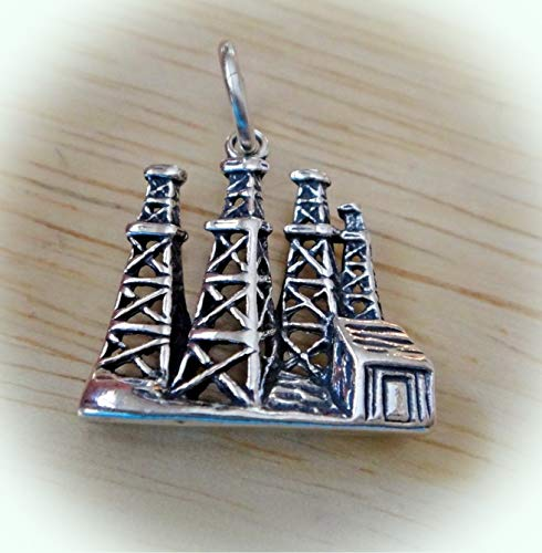 Sterling Silver 19x18mm Old Style 4 Oil Field Derricks Charm Vintage Crafting Pendant Jewelry Making Supplies - DIY for Necklace Bracelet Accessories by CharmingSS