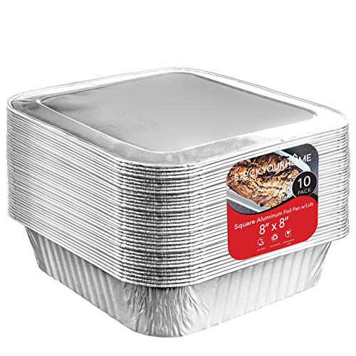 8x8 Foil Pans with Lids (10Count) 8 Inch Square Aluminum Pans with Covers - Foil Pans and Foil Lids - Disposable Food Containers Great for Baking, Cooking, Heating, Storing, Prepping Food