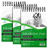 Bellofy 3 x Drawing Paper Pads | 300 Sheets | 60lbs 85g | 5.8 x 8.3 inch | Acid Free Sketchbook Paper for Dry Media | Top Spiral Bound Sketchpad for Kids, Beginners, Artists & Professionals