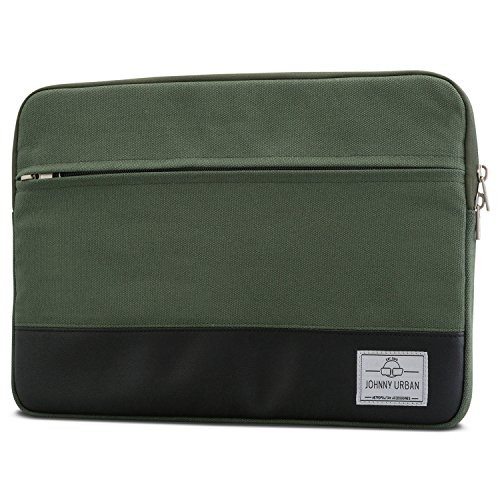 Johnny Urban MacBook Pro 13 (2020-2016) Hülle, MacBook Air (2020-2018) Tasche Grün Laptop Sleeve aus Baumwoll Canvas Laptoptasche fürs MacBook Pro 13, MacBook Air, 11-12 Zoll Notebooks