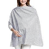 KEREDA Stillschal Stilltuch Stillschürze Stillcover, Baumwolle Nursing Cover für Unterwegs, 360°Full Privacy Breastfeeding Protection - 100 x 70cm(Grau)