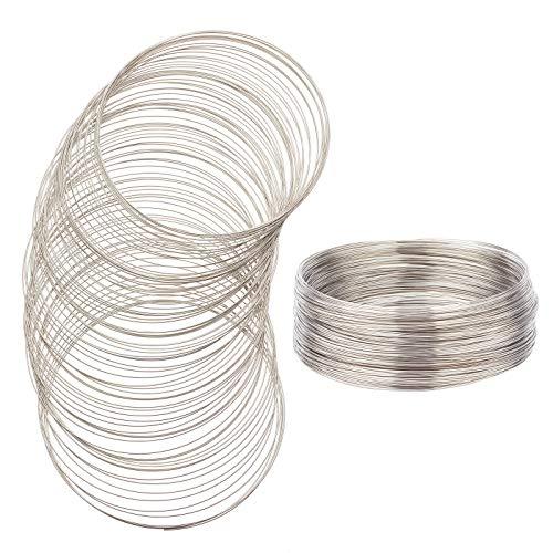 BENECREAT 250 Loop 22 Gauge/0.6mm Stahl Speicherdraht Platin Schmuck Perlendraht 115mm Armreif Armband Draht für Drahtwickel DIY Schmuckherstellung