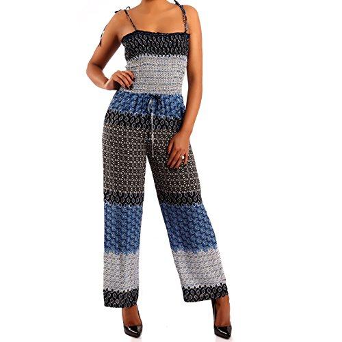 Young-Fashion Damen Jumpsuit Bandeau Overall Bedruckter Einteiler Hosenrock-Look, Farbe:Blau;Größe:M/L