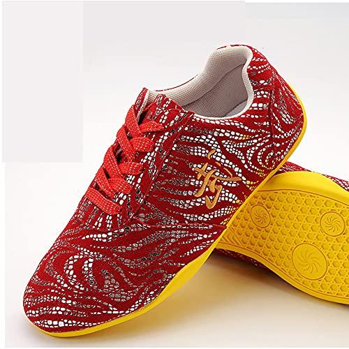 Zapatos de Tai Chi Artes Marciales Unisex, Otoño Zapatos de Kung Fu Taekwondo para Hombres y Mujeres, Ligera Adulto Zapatillas de Entrenamiento Deporte para Boxeo, Karat(Size:44EU/13US,Color:Rojo)