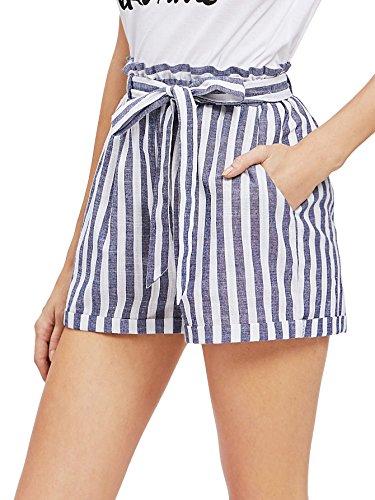 SweatyRocks Women's Casual Elastic Waist Striped Summer Beach Shorts with Pockets Blue#3 XS