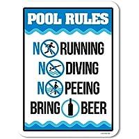 面白いプールの看板、プールのルールはビール、プールの看板と装飾をもたらします-20x30cm