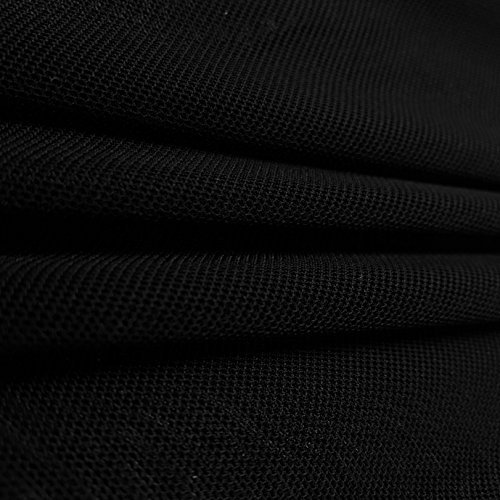 Solid Power Mesh Fabric Nylon Spandex 60 Wide Stretch Sold BTY Many Colors (Black, 1 Yard)