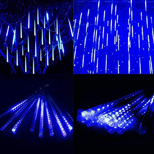 Meteorschauer Lichterkette Wasserdichte Meteor Shower Lichter mit EU Stecker für Garten/Hochzeit/Party/Weihnachten Dekoration (Blau, 30 cm)