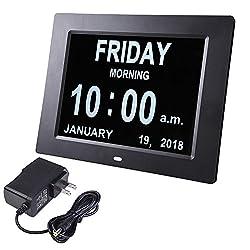 MRT SUPPLY Black 8 Large Digital LED Day Clock 6-Alarm Time Week Date Calendar Dementia Display 21.5x2.4x17cm with Ebook